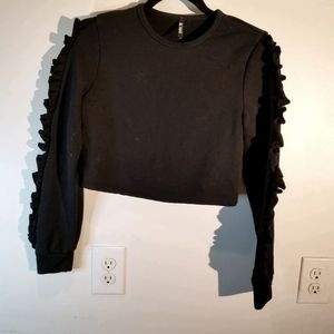 K TOO BLACK RUFFLE PULLOVER WOMEN KNIT CROPPED .